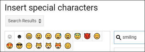 """The """"Insert Special Characters"""" search bar with """"smiling"""" typed in and the resulting emojis."""