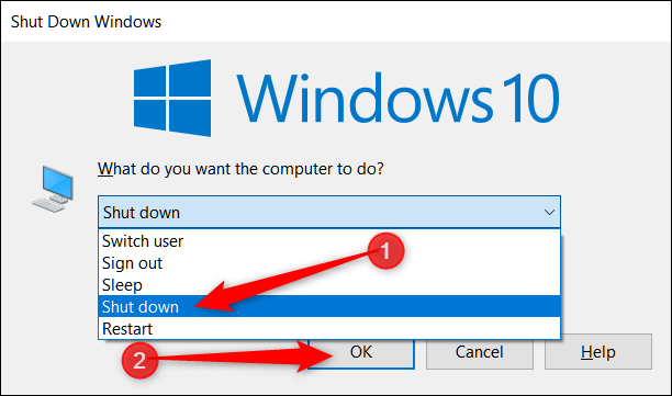 Choose Shut Down from menu and click OK