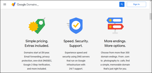 Google Domains home page