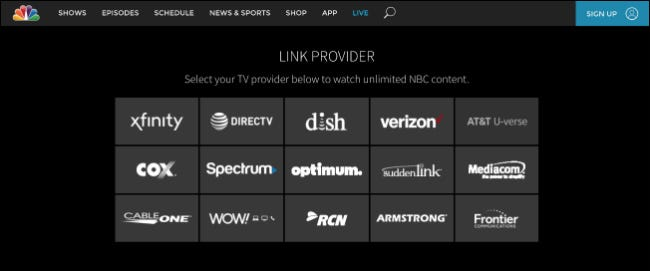 NBC's website to link your television provider