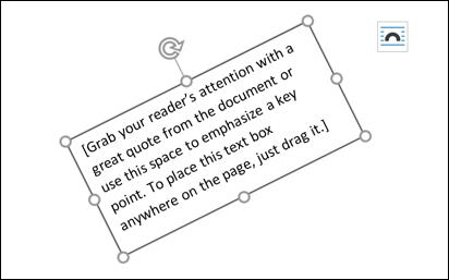 text box rotated diagonally