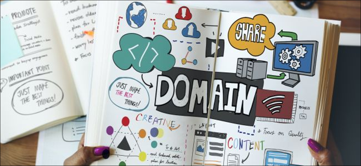 open notebook with artwork showing domain related terms