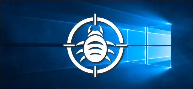 A bug logo in a target on Windows 10's desktop background