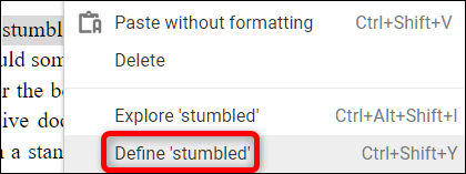 Defining words using Google Docs
