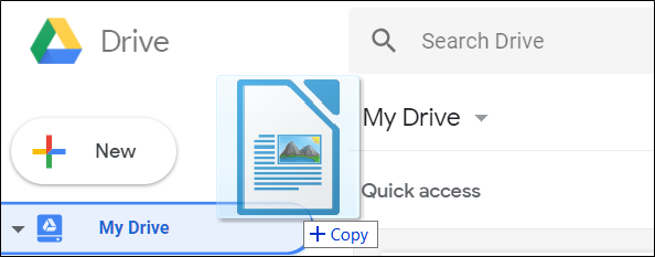 Drag and drop a file from your computer to upload it to Google Drive