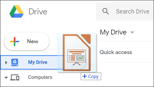 Drag and drop your PowerPoint file directly into Google Drive.