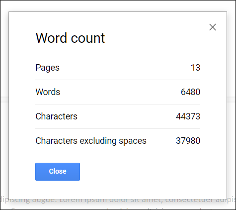 The word count of a document