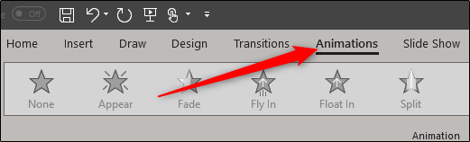 Animations tab in ppt