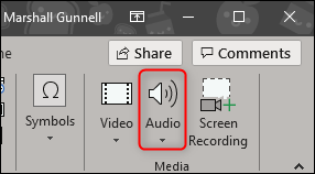 Audio in media section