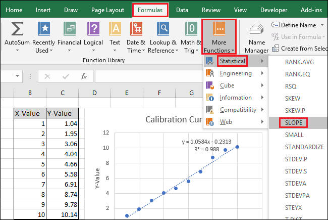 Navigate to Formulas > More Functions > Statistical > SLOPE
