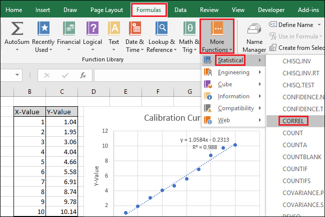 navigate to Formulas > More Functions > Statistical > CORREL