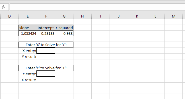 enter an X-value or a Y-value and get the corresponding value