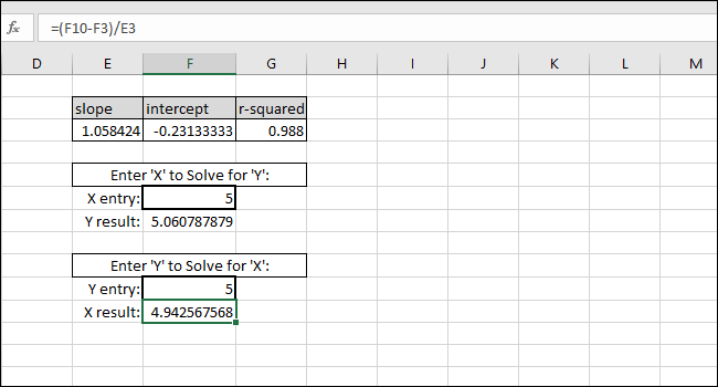 solving x for a y value
