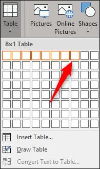 Insert 8x1 table