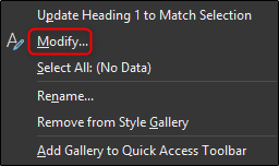Modify heading style