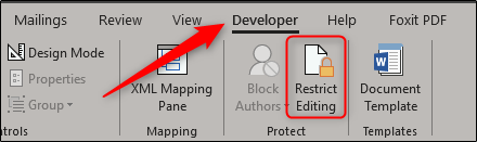 Restrict editing in developer tab