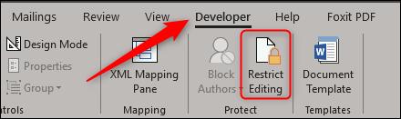 Restrict editing in developer tab