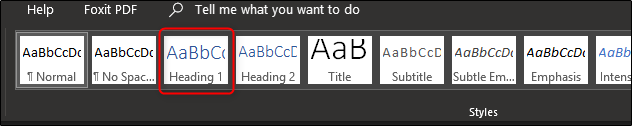 Select a heading style