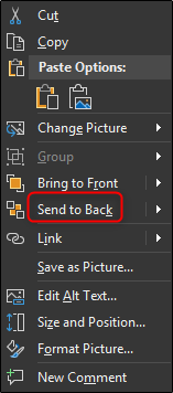 Send to back