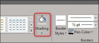 Shading options