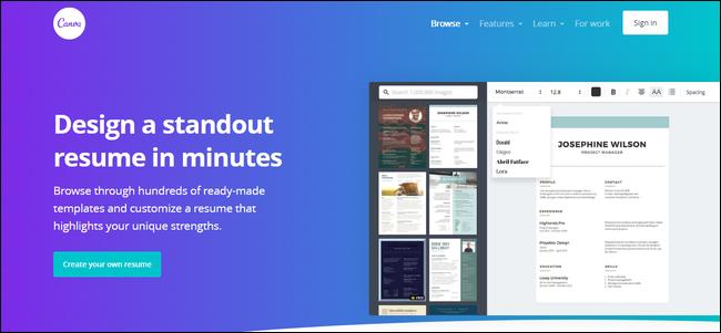 canva resume maker