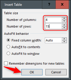 customize table size