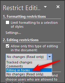 editing restrictions filling in forms