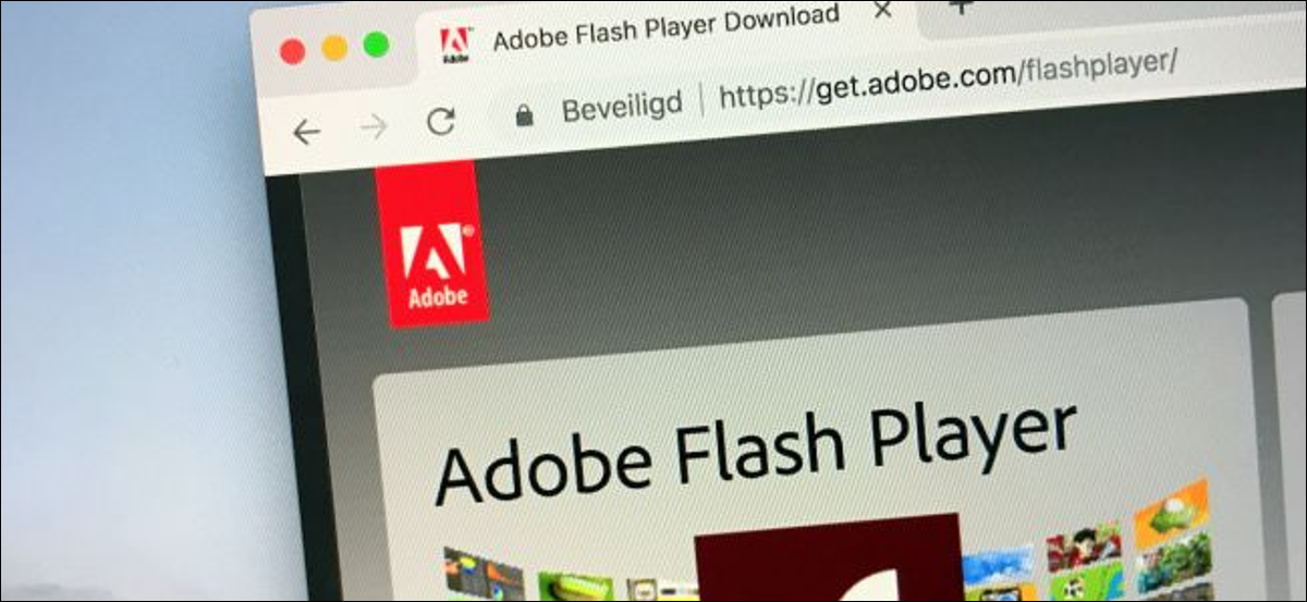 Adobe Flash Player website on a computer