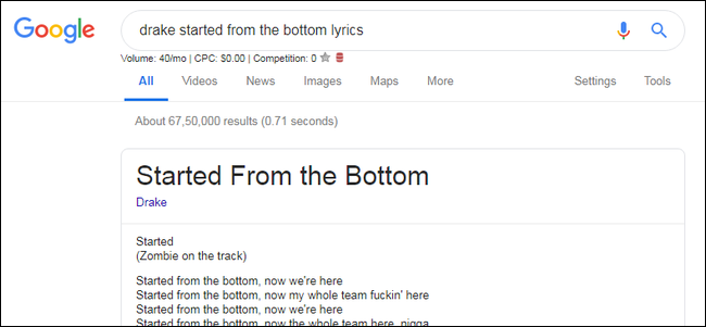 google find song lyrics