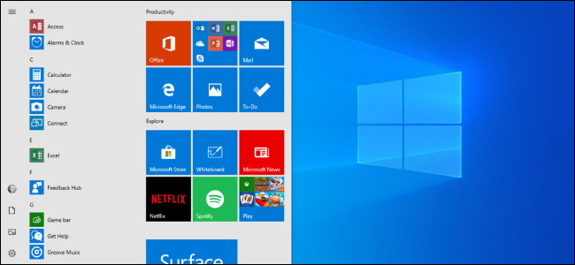 The April 2019 Update's new default Start menu layout