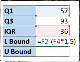 Excel formula for lower bound value