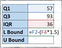Excel formula for lower bound value