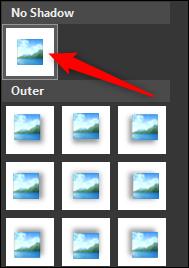 select no shadow option