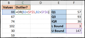 OR function to identify outliers