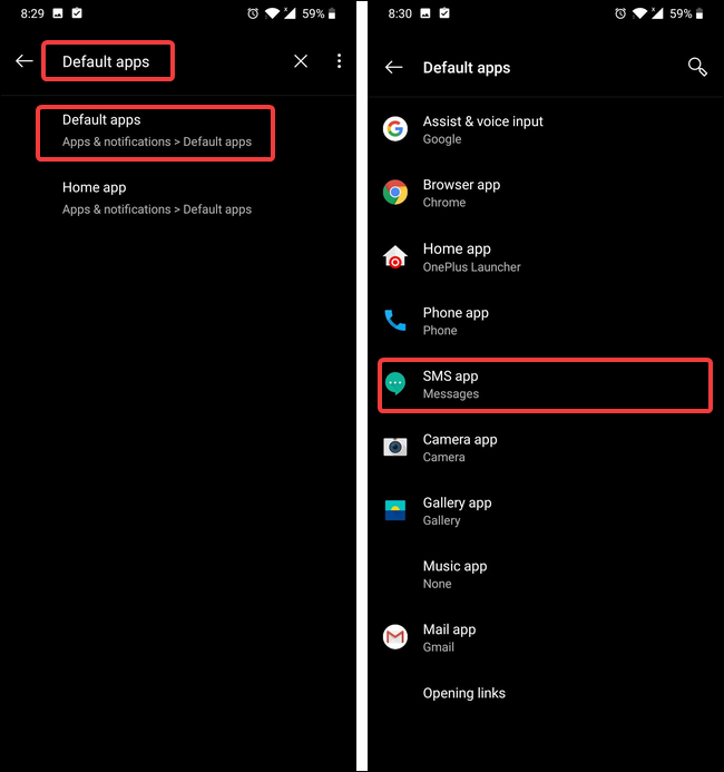 perform a search for default apps