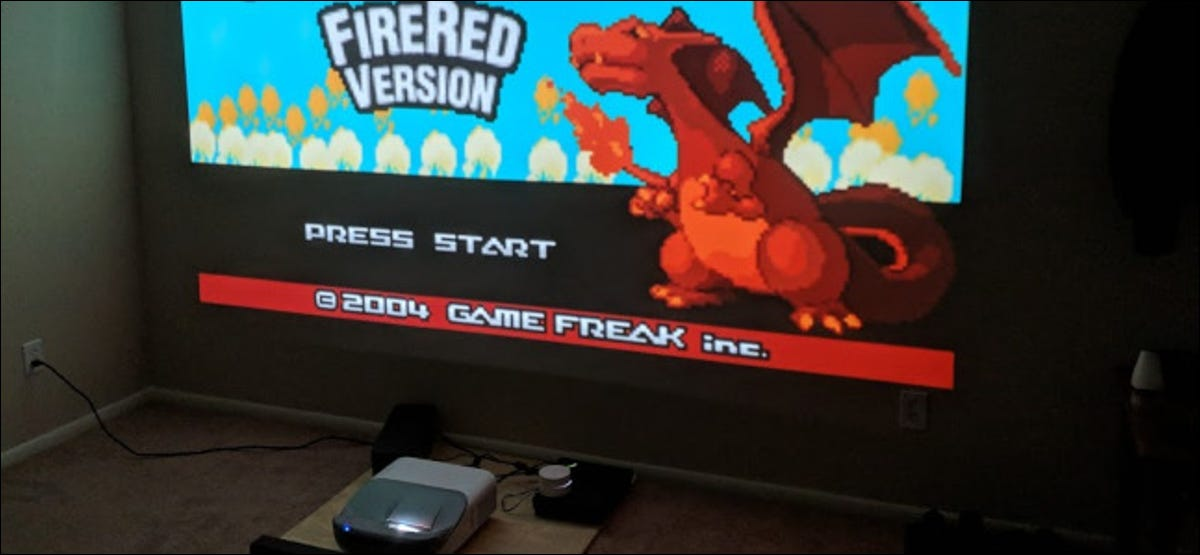 video game playing on projected screen