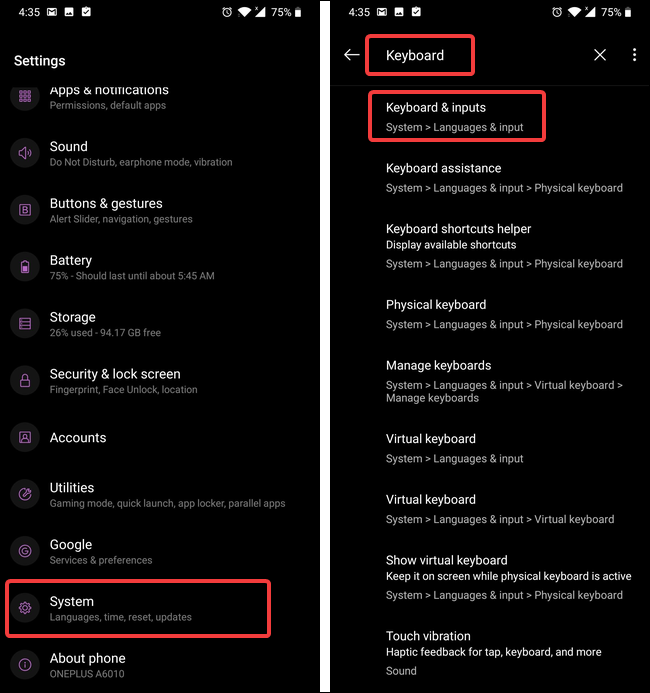 search for keyboard settings