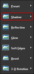 select the Shadow submenu