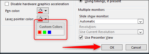 select color - press ok