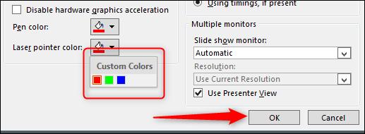 select color - press ok