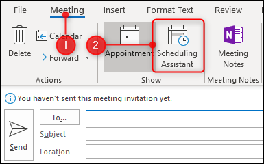 click scheduling assistant on the meeting tab