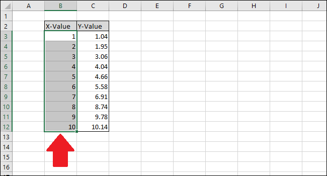 select the x value column