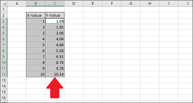 hold Ctrl while clicking the Y value column