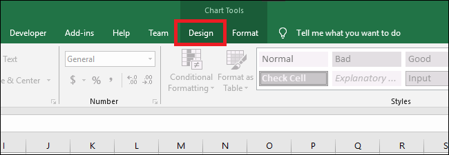 "Go to chart tools> design ""width ="" 650 ""height ="" 225 ""/> </p> <p>  Click on the"" Add a table ""drop-down menu. </p> <p>  <img class="
