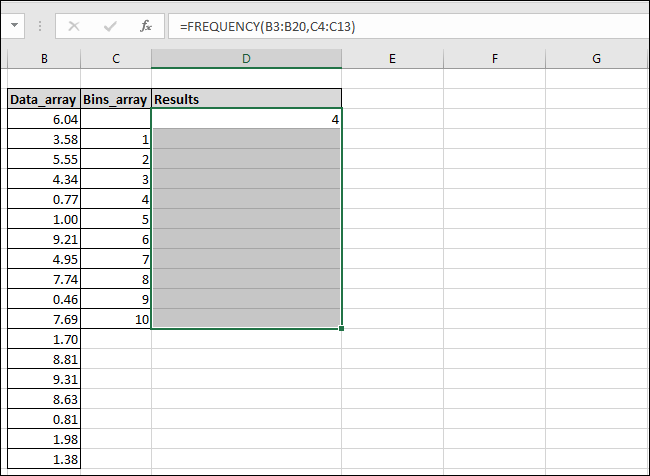 how to use frequency formula in excel
