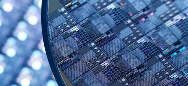 Magnified view of transistors on a processor