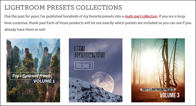Trey Ratcliff's web page of presets collections