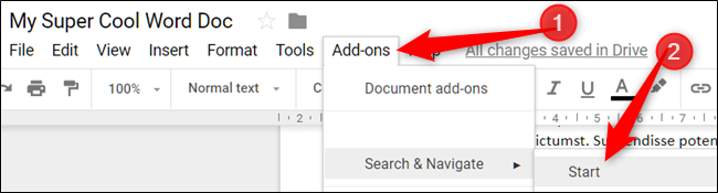 Open Add-Ons menu, point to an add-on, then click Start or Show