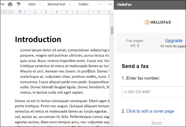 HelloFax add-on