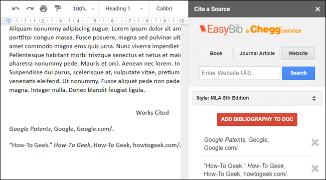 EasyBib add-on